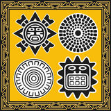 Set of ancient american indian sun patterns Stock Photography