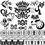 Set of ancient American ornaments Stock Image