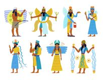 A set of Ancient Babylonian gods Royalty Free Stock Images