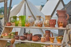 Set of ancient clay vessels stock image