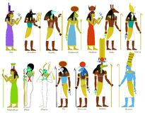 A set of Ancient Egyptian gods. An illustration set of Ancient Egyptian gods and goddesses Stock Images