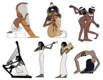 A set of ancient Egyptian music and dance illustrations Royalty Free Stock Images