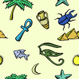 Set of ancient egyptian symbols, seamless pattern Royalty Free Stock Photography