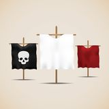Set of ancient flags Royalty Free Stock Image