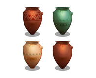 Set of ancient greek amphora isolated on white background. Vector illustration Royalty Free Stock Images