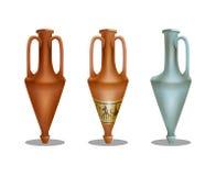 Set of ancient greek amphora isolated on white background. Vector illustration royalty free illustration