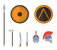 Set of ancient greek spartan weapon and protective equipment. Spear, sword, gladius, shield, axe, helmet. Warrior outfit Vector illustration Stock Photos