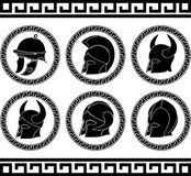 Set of ancient helmets Stock Images