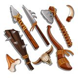 Set ancient of hunting and military weapons isolated on white background. Vector illustration. Stock Photo