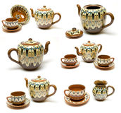 Set of ancient kettle and cups Royalty Free Stock Photos