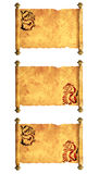 Set of ancient parchments Stock Image
