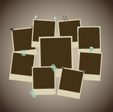 Set of ancient photo frames with pins, pushpins, adhesive tape Royalty Free Stock Image