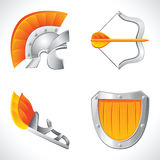 Greek roman icon set. Set of ancient roman legionary vector objects Stock Photography