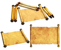 Set of ancient scrolls Stock Photos