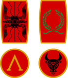 Set of ancient shields. Vector illustration Royalty Free Stock Photos