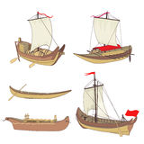 Set of ancient ships Stock Photos