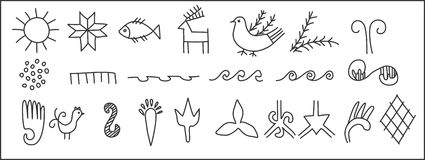 Set of ancient symbols. Stock Image