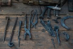 Set of ancient tools for metal forging. royalty free stock images