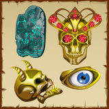 Set of ancient treasures, skull and ornaments Royalty Free Stock Images