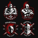 Set of ancient warriors. Set of  illustrations with ancient warriors. Logo design of knights and spartans on dark background Royalty Free Stock Photography