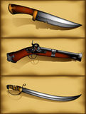 Set of ancient weapon Stock Photography