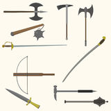 Set of ancient weapon. Flat style. vector illustration Stock Image