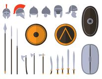 Set of ancient weapon and protective equipment. Stock Photo