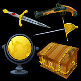 Set of ancient weapons and golden globe Royalty Free Stock Photos