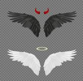 Set of angel and devil realistic wings, horns and halo isolated. On transparent background royalty free illustration