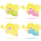 Set of Angels Royalty Free Stock Photos