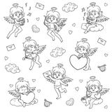 Set of angels, characters of Valentine`s Day Royalty Free Stock Photos