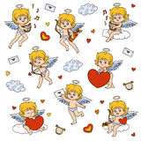Set of angels, characters of Valentine`s Day. Stock Photo
