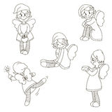 A set of angels in different poses. Vector illustration. Isolated outline on a white background. Drawn by hand. Set Stock Photos