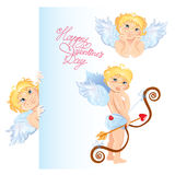Set of angels. Elements for Valentines Day card design. Royalty Free Stock Photos