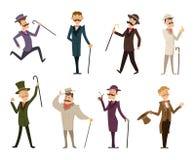 Set angielscy wiktoriański dżentelmeny Charaktery w dynamicznych pozach royalty ilustracja