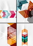 Set of angle and straight lines design abstract. Backgrounds. Geometric shapes, triangles and arrows with light effects stock illustration