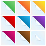 Set of angles of white paper with a colored backgr Royalty Free Stock Photography