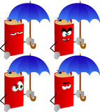 Set of angry book with umbrella Royalty Free Stock Photo