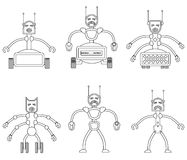 Set of angry evil robots. Royalty Free Stock Images