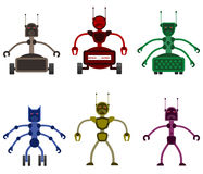 Set of angry evil robots. Royalty Free Stock Photography