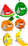 Set of angry fruits showing middle finger Stock Image