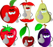 Set of angry fruits showing middle finger Royalty Free Stock Image