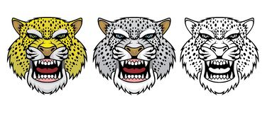 Set of angry leopard heads. vector illustration