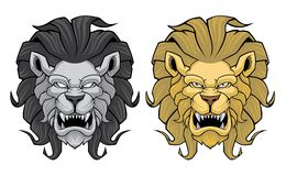Set of angry lion heads. stock illustration