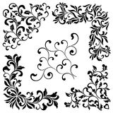 A set of angular ornaments. Ideal for stencil. Decorative vintage style. Ornate pattern of swirls and leaves isolated on white background Stock Photos