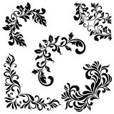 A set of angular ornaments. Ideal for stencil. Ornate tracery of swirls and leaves Stock Images