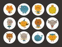 Set of animal avatars Stock Photos