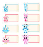 Set animal blank template for text. Cow, owl, rabbit, bear. Blue and pink. Baby invitation. Vector illustration. Royalty Free Stock Photo