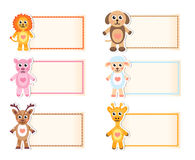 Set animal blank template for text. Lion, giraffe, sheep, pig, deer, dog. Baby invitation. Vector illustration. Royalty Free Stock Images