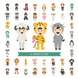 Set of 40 Animal costume characters Stock Images